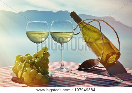 Wine against Geneva lake. Lavaux, Switzerland