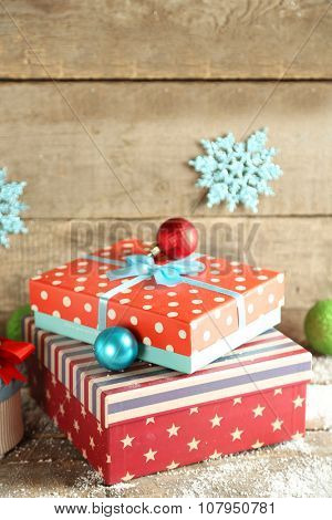Gift boxes on wooden background