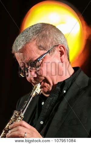 CRACOW POLAND - NOVEMBER 3 2015: Andy Shepard and Carla Bley Trios playing live music at The Cracow Jazz All Souls Day Festival in Cracow. Poland