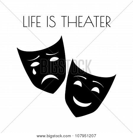 Theater masks isolated on white background. Vector illustration.