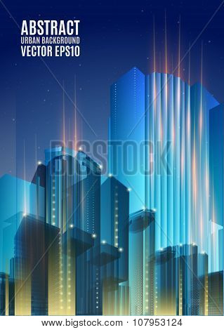Blue city skyline at night. Graphical urban abstract cityscape background