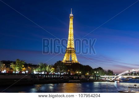 The Eiffel Tower In Evening, Paris, France.