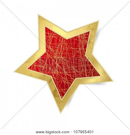 Red star with gold frame - Christmas ornament isolated