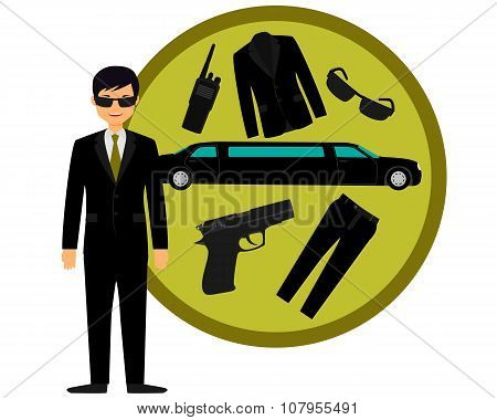 Bodyguard and accessories. The gun, suit and a limousine. Vector illustration