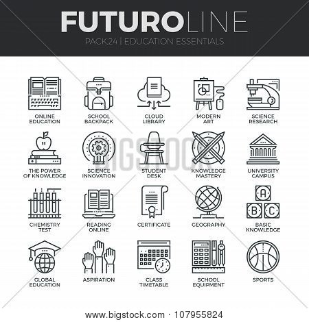 Education And Training Futuro Line Icons Set