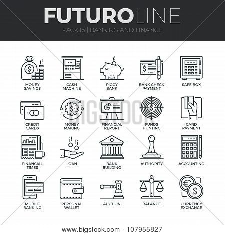 Finance And Banking Futuro Line Icons Set