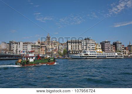 Bosphorus Activity With Galata Neighborhood In The Background