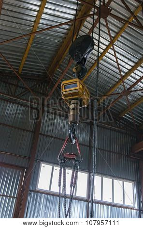 Crane Hook In Factory Warehouse