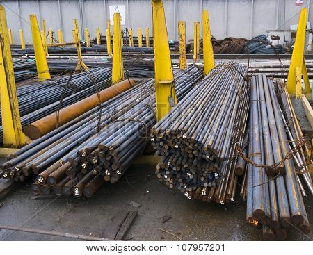 Steel Round Bars In Factory Warehouse