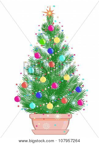 Mini Christmas Tree In A Flowerpot On White Background