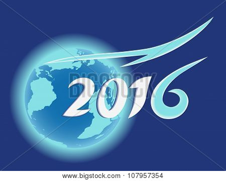 Planet Earth, Blue Globe, Year 2016 Text Design.