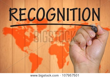 Hand Writing Recognition Over Blur World Background