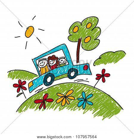 Image Of Happy Family. Car Travel