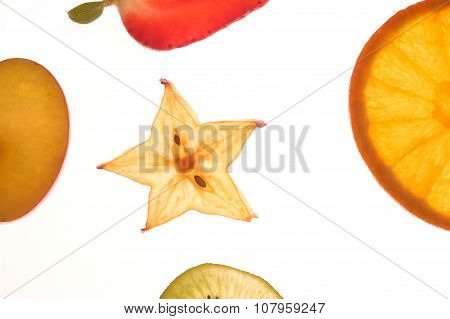 Various Sectioned And White Fruit,apple, Orange......