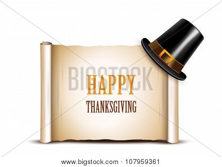 Thanksgiving banner with pilgrim hat.