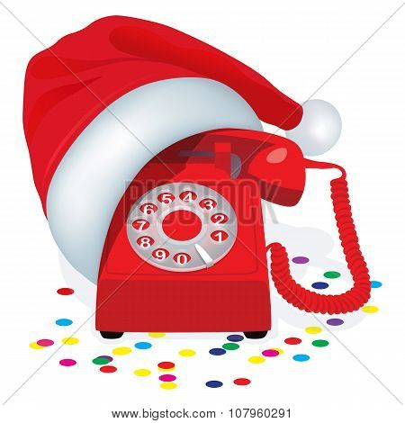 Christmas Red Stationary Phone With Rotary Dial In Cap Of Santa Claus.