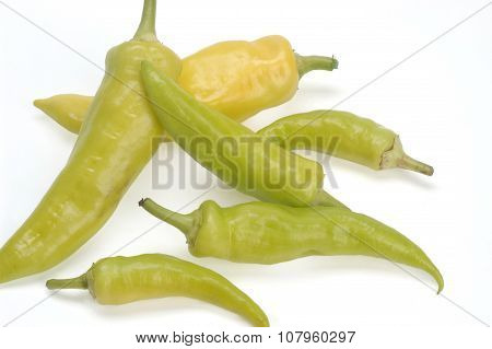 Cubanelle Peper Isolated On White,