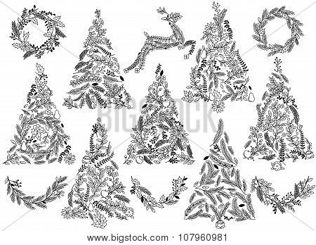 Silhouette Floral or Botanical Christmas Trees, Wreaths, Bunting and Reindeer