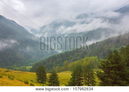 Cloudy day in mountain valley