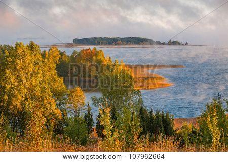 Foggy morning in Braslau lakes national park, Belarus