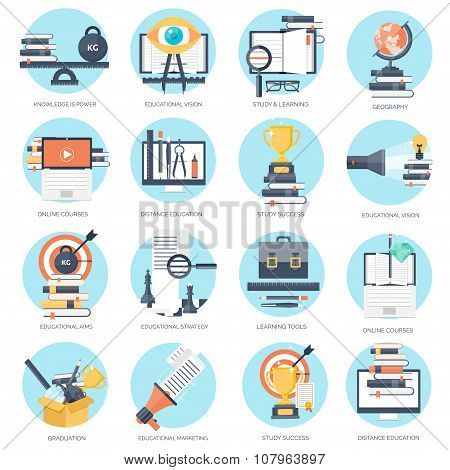 Vector illustration. Flat backgrounds set. Distance education ,learning. Online courses , web school