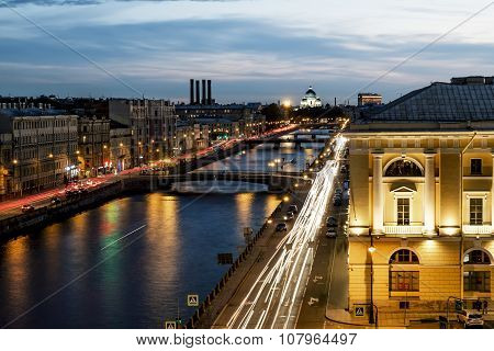 Roof View On The Fontanka River In St. Petersburg At Evening Illumination.