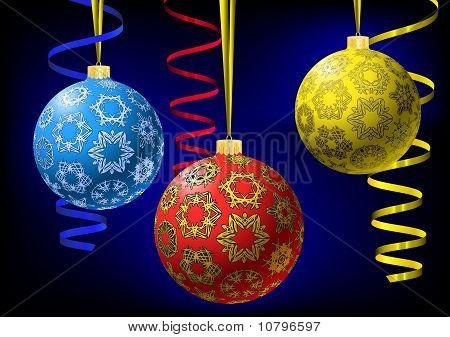 Christmas-balls With Snowflakes Texture