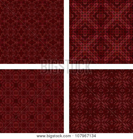 Maroon seamless mosaic background set