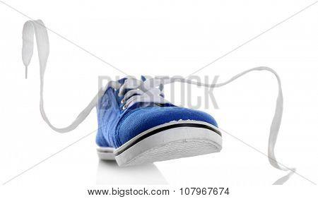 Blue gumshoe isolated on white