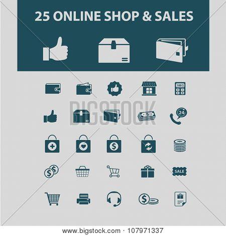 online sales, shop, retail icons, signs vector concept set for infographics, mobile, website, application