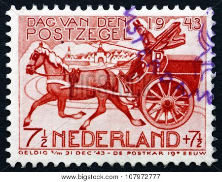 Postage Stamp Netherlands 1943 19Th Century Mail Chart