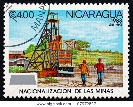Postage Stamp Nicaragua 1983 Mine Headstock, Workers