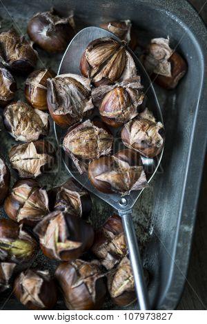 Roast Chestnuts In A Metal Spoon
