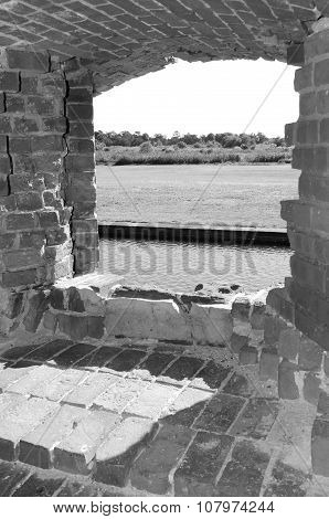 View looking out of Fort Pulaski