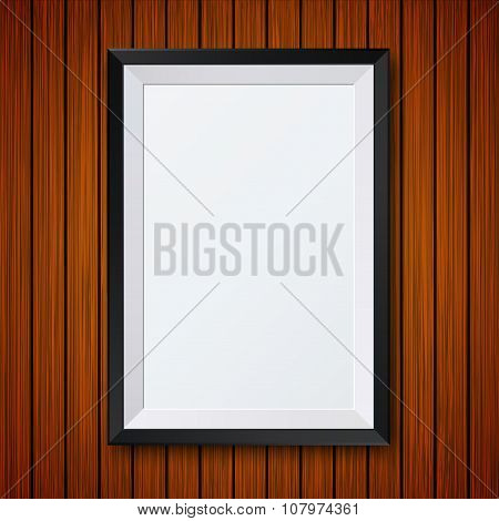 Vector modern frame with shadow on wooden