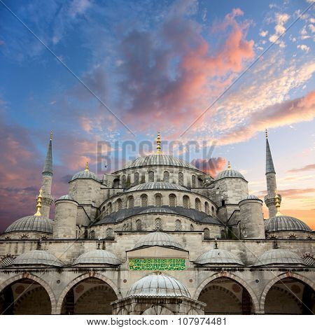 Sultanahmet Blue Mosque and beautiful sunrise sky with colorful clouds, Istanbul, Turkey, big size