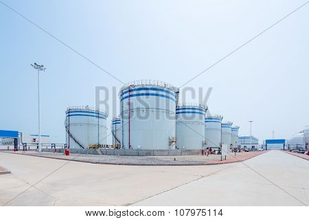 landscape of oil depot ground front