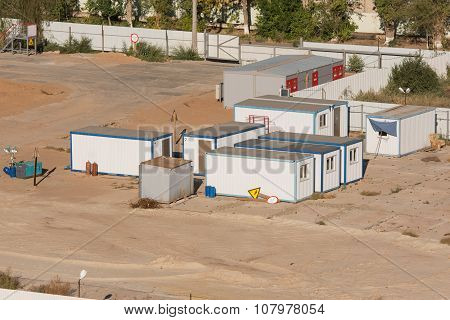 Residential Trailers - Cabins And A Transformer Substation At The Construction Site