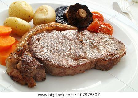 plated beef steak