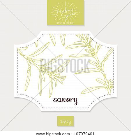 Product sticker with hand drawn savory leaves. Spicy herbs packaging design
