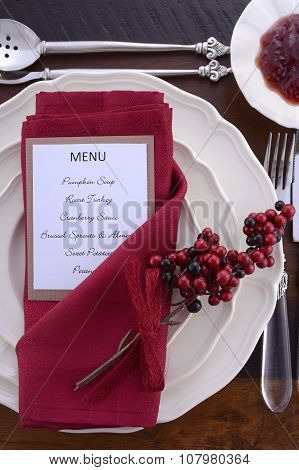 Thanksgiving Table Setting With Menu.