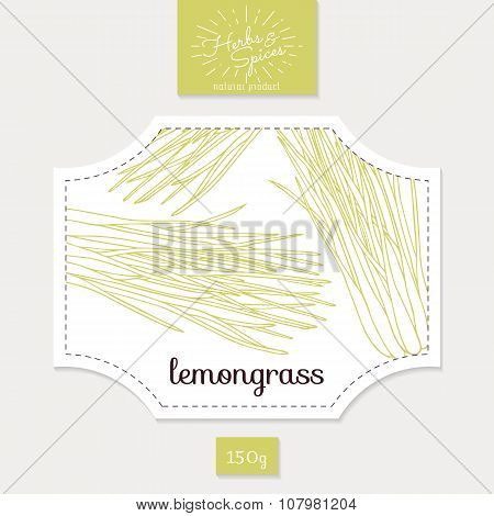 Product sticker with hand drawn lemongrass leaves. Spicy herbs packaging design