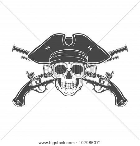 Evil captain skull in cocked hat vector. Jolly Roger logo template. death t-shirt design. Musket ins