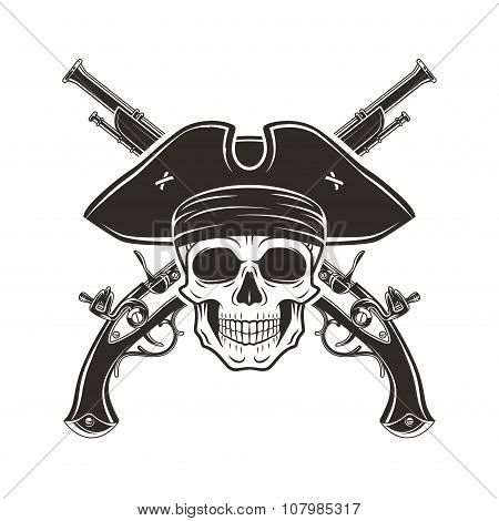 Jolly Roger skull in cocked hat vector. Evil captain logo template. death t-shirt design. Pistol ins