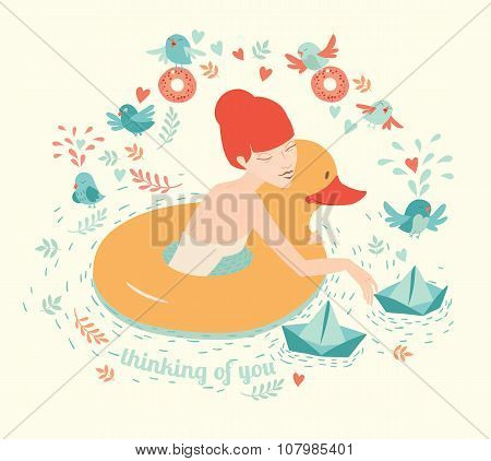Girl with duck lifebuoy floating paper boats on water