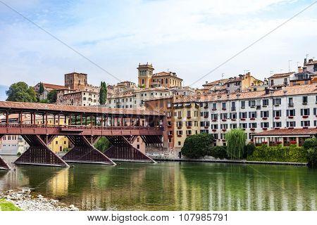 The Old Wooden Bridge Spans The River Brenta At The Village Basano Del Grappa