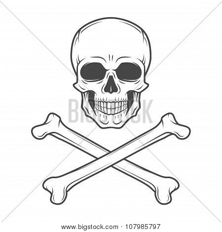 Human evil skull vector. Jolly Roger with crossbones logo template. death t-shirt design. Pirate ins