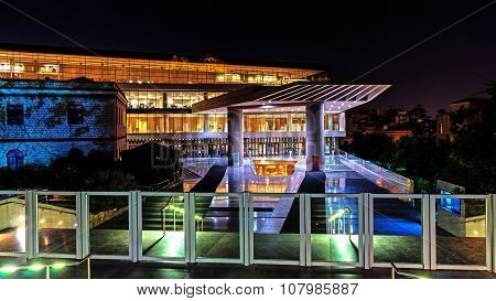 Night view of The Acropolis Museum