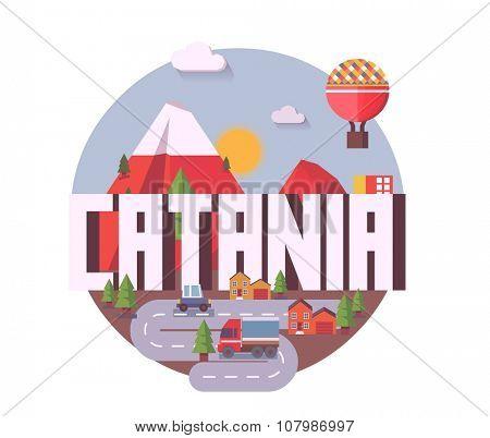 Catania beautiful city in europe. vector cartoon illustration