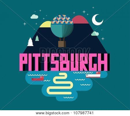 Pittsburgh beautiful city to visit. vector cartoon